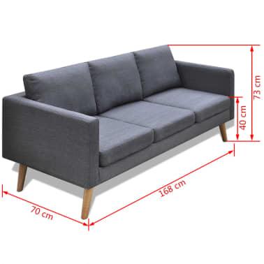 vidaXL Sofa 3-Seater Fabric Dark Grey[5/5]
