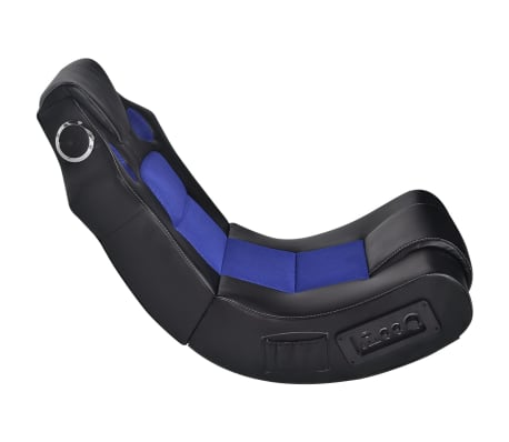 vidaXL Fauteuil à bascule enceinte en cuir synthétique Noir Bleu[3/6]