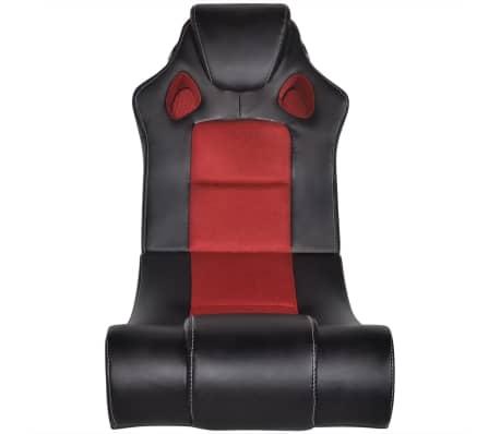 vidaXL Scaun balansoar din piele artificială muzical roșu și negru[2/6]