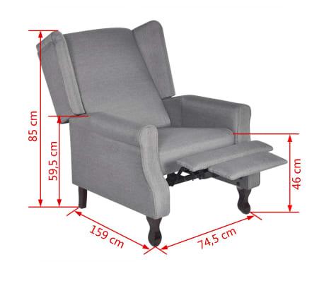 acheter vidaxl fauteuil r glable tissu gris pas cher. Black Bedroom Furniture Sets. Home Design Ideas