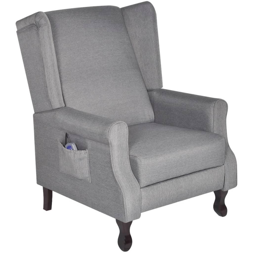 vidaXL Masážní křeslo elektrické polohovatelné textilní šedé