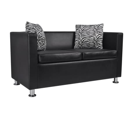 vidaxl sofa 2 sitzer kunstleder schwarz g nstig kaufen. Black Bedroom Furniture Sets. Home Design Ideas