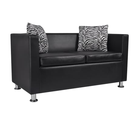 vidaxl sofa 2 sitzer kunstleder schwarz g nstig kaufen. Black Bedroom Furniture Sets. Home Design Ideas