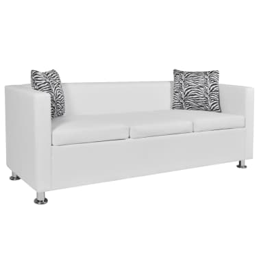 vidaXL Sofa 3-Sitzer Kunstleder Weiß[1/6]