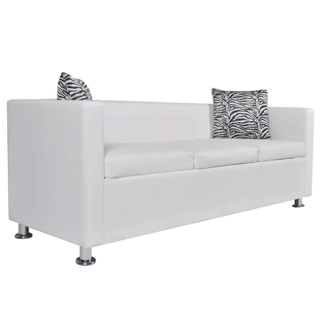 99242211 Sofa 3-Sitzer Kunstleder Weiß