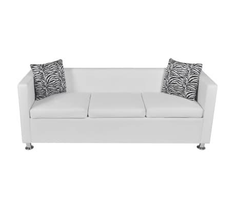 vidaXL Sofa 3-Sitzer Kunstleder Weiß[3/6]