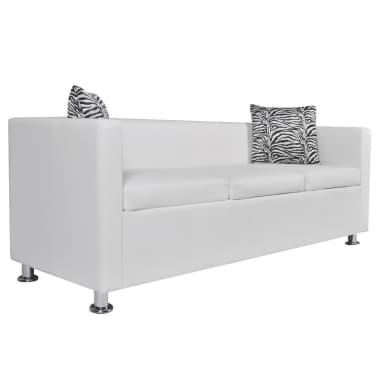 vidaXL Sofa 3-Sitzer Kunstleder Weiß[2/6]