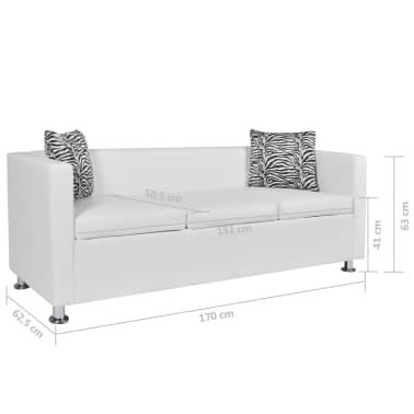 vidaXL Sofa 3-Sitzer Kunstleder Weiß[6/6]