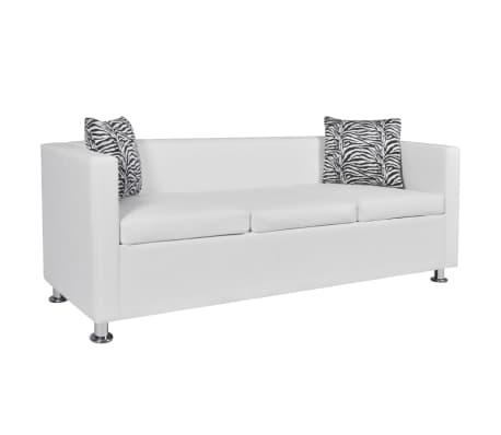 vidaxl sofa 3 sitzer kunstleder wei g nstig kaufen. Black Bedroom Furniture Sets. Home Design Ideas