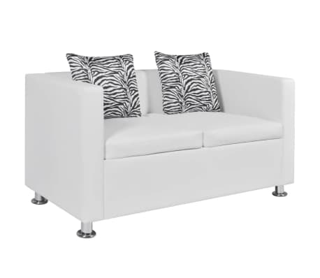 vidaxl sofa 2 sitzer kunstleder wei im vidaxl trendshop. Black Bedroom Furniture Sets. Home Design Ideas
