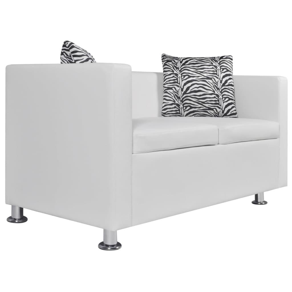 99242212 Sofa 2-Sitzer Kunstleder Weiß