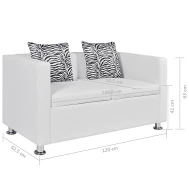 vidaXL Sofá de 2 plazas de cuero artificial blanco[6/6]