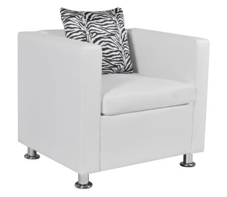 vidaXL Armchair White Faux Leather