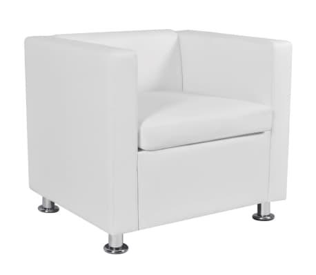 vidaXL Fotelja od Umjetne Kože Bijela[4/6]