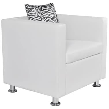 vidaXL Fotelja od Umjetne Kože Bijela[2/6]