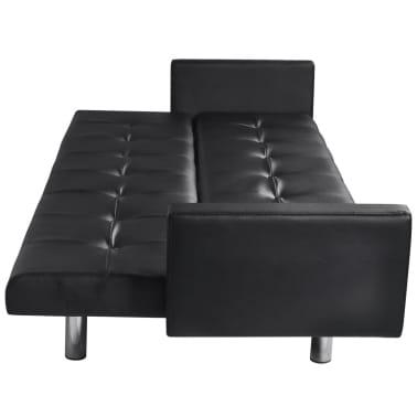 vidaXL Sofá cama con reposabrazos de cuero artificial negro[4/6]
