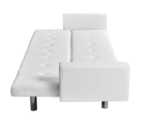 vidaXL Sofá cama con reposabrazos de cuero artificial blanco[3/6]