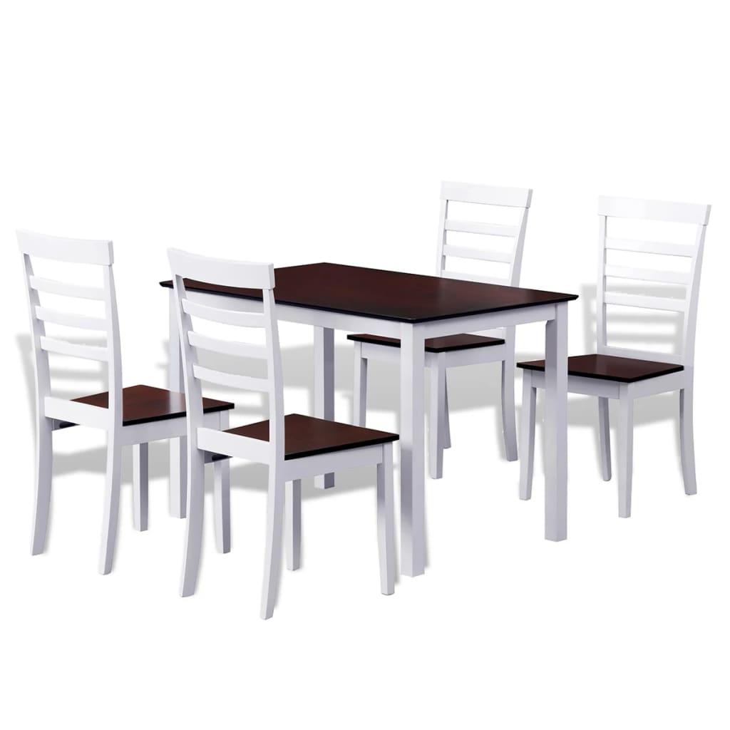 vidaXL Barna / fehér tömör fa étkezőasztal + 4 db székes étkező garnitúra
