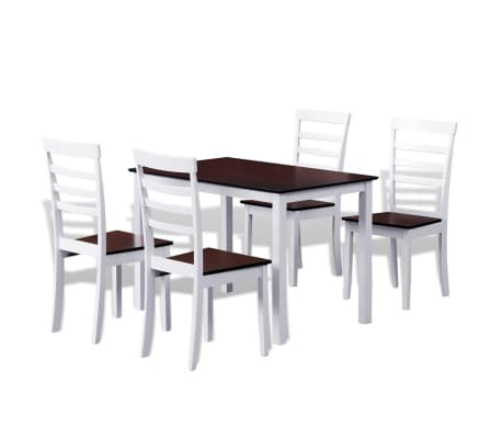 Fine Brown White Solid Wood Dining Table Set With 4 Chairs Download Free Architecture Designs Viewormadebymaigaardcom