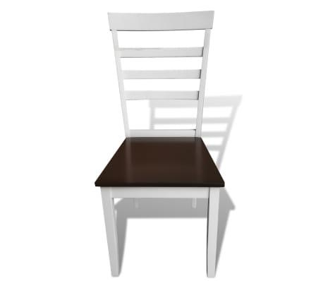 Valgomojo stalo ir 4 kėdžių komplektas, masyvi mediena, ruda/balta[5/7]