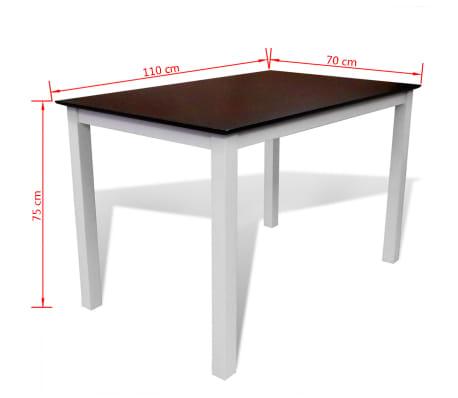 Valgomojo stalo ir 4 kėdžių komplektas, masyvi mediena, ruda/balta[7/7]