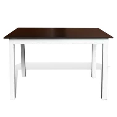 Valgomojo stalo ir 4 kėdžių komplektas, masyvi mediena, ruda/balta[3/7]