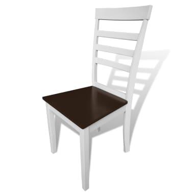 Valgomojo stalo ir 4 kėdžių komplektas, masyvi mediena, ruda/balta[4/7]