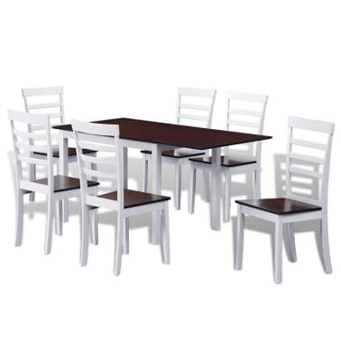 Tavolo In Legno Con 6 Sedie.Vidaxl Tavolo Da Pranzo In Legno Solido Esteso Con 6 Sedie Bianco E