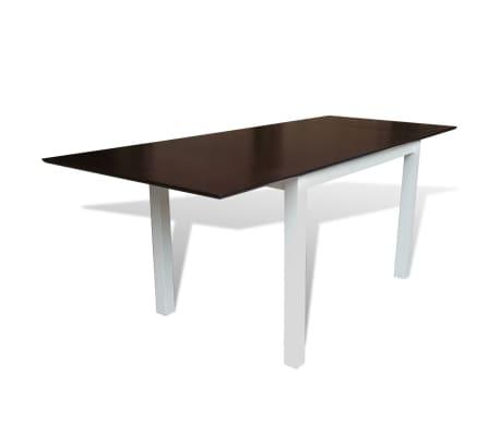 set table extensible et 8 chaises marron blanc en bois massif. Black Bedroom Furniture Sets. Home Design Ideas