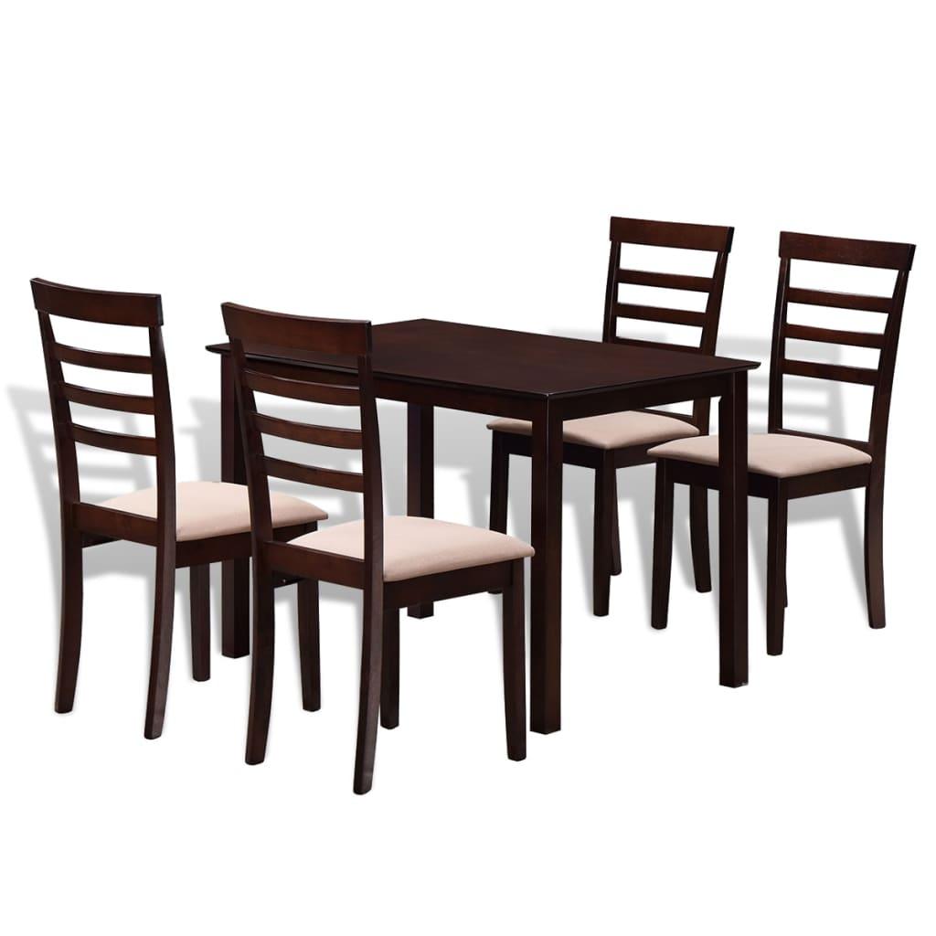Hnědo-krémový jídelní set: stůl z masivu + 4 židle