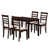 Brown Cream Solid Wood Dining Table Set with 4 Chairs
