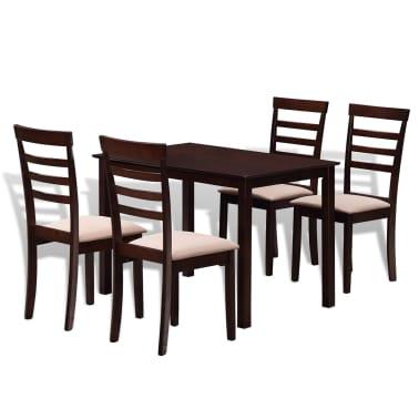 Valgomojo stalo ir 4 kėdžių komplektas, masyvi mediena, ruda/krem.[1/7]
