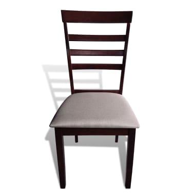Valgomojo stalo ir 4 kėdžių komplektas, masyvi mediena, ruda/krem.[5/7]
