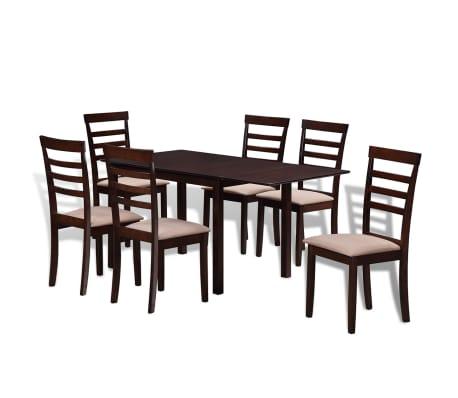 8 Houten Stoelen.Vidaxl Houten Uitschuifbare Eettafel Set Met 6 Stoelen Bruin En Creme