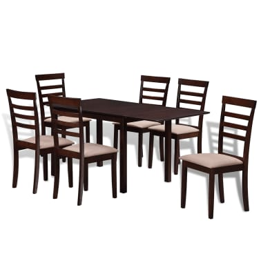 Valgomojo stalo ir 6 kėdžių komplektas, masyvi mediena, ruda/krem.[1/8]