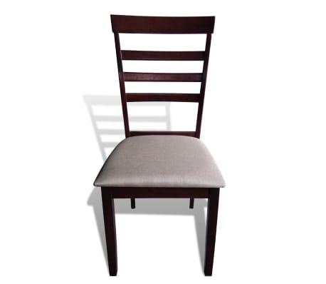 Valgomojo stalo ir 6 kėdžių komplektas, masyvi mediena, ruda/krem.[6/8]
