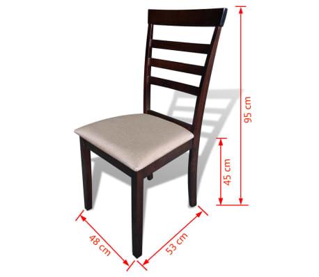 Valgomojo stalo ir 6 kėdžių komplektas, masyvi mediena, ruda/krem.[7/8]