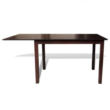 Valgomojo stalo ir 6 kėdžių komplektas, masyvi mediena, ruda/krem.[2/8]