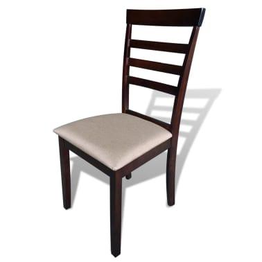 Valgomojo stalo ir 6 kėdžių komplektas, masyvi mediena, ruda/krem.[5/8]