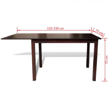 Valgomojo stalo ir 6 kėdžių komplektas, masyvi mediena, ruda/krem.[8/8]