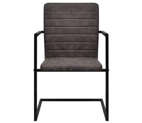 Vidaxl sillas de comedor cantilever 2 unidades marrones for Sillas marrones