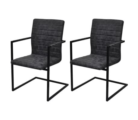 Vidaxl sillas de comedor cantilever 2 unidades negras for Sillas negras comedor