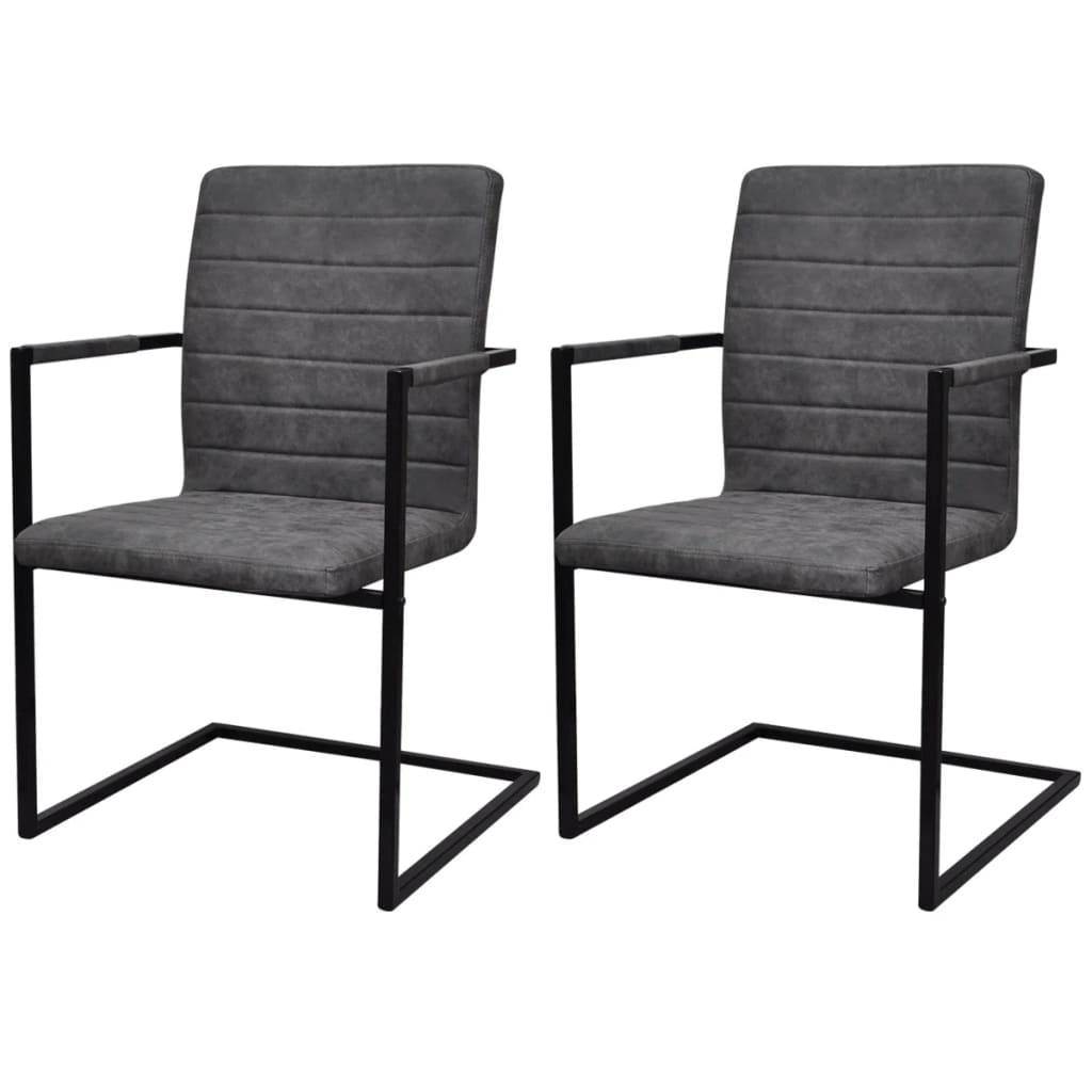 vidaXL Jídelní židle 2 ks konzolové šedé