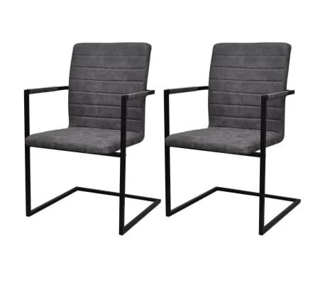 vidaXL Dining Chairs 2 pcs Cantilever Grey[1/8]