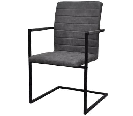 vidaXL Dining Chairs 2 pcs Cantilever Grey[2/8]