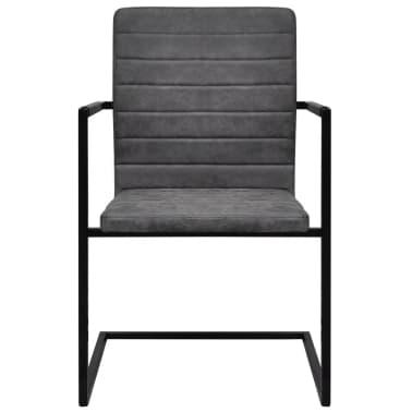 vidaXL Dining Chairs 2 pcs Cantilever Grey[3/8]
