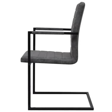 vidaXL Dining Chairs 2 pcs Cantilever Grey[4/8]