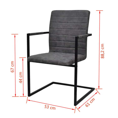 vidaXL Dining Chairs 2 pcs Cantilever Grey[8/8]