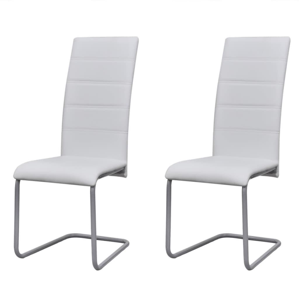 vidaXL Konzolové jídelní židle 2 ks bílé umělá kůže
