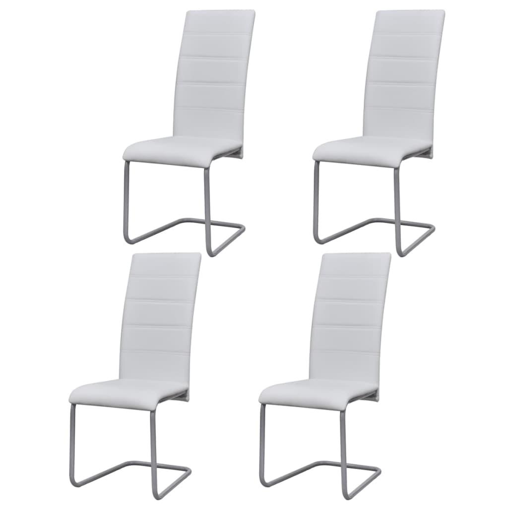 vidaXL Καρέκλες Τραπεζαρίας «Πρόβολος» 4 τεμ. Λευκές